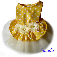 NEW Yellow White Polka Dot Flower Tutu Party Dress Small Pet Dog Cat Clothes