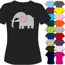 Retro Grey Elephant Cartoon Womens Ladies T-Shirt