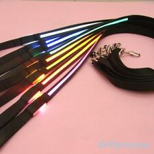 Pets Belt LED Flashing Harness Dog Light Black Nylon Safety Leash Rope 8 Colors