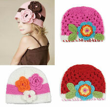 1pc Girl Kid Toddler Baby Handmade Crochet Knit Flower Hat Cap Beanie Photo Prop