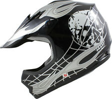 Youth Black/Silver Skull Dirt Bike ATV Off-Road Motocross Helmet~S,M,L