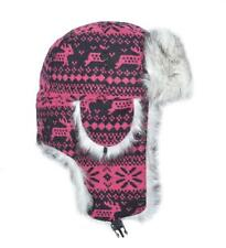 Faux Fur Ear Warmer Flaps Winter Skiing Russian Cap Hat Trooper Snow Flakes Deer