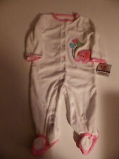 NWT~Carters Infant Girls Easy Entry Sleep N Play, White/Pastel