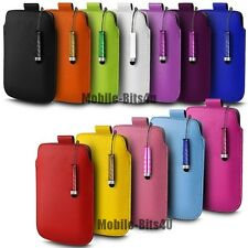 PU LEATHER PULL TAB POUCH CASE COVER & MINI STYLUS FOR VARIOUS  MOBILE PHONES