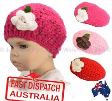 Kids Girl Crochet Handmade Knit Knitted Lace Beanie Hat Flower Cute French BERET