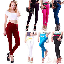 Hot Women's High Waist Stretch Skinny Leggings Pencil Pants Trousers Slim Fit