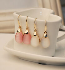 1 Pair Korea Simple Desgin Fashoin Waterdrop Opal Gold Plated Dangle Earrings