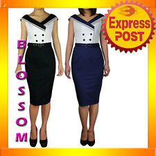 RK65 Ahoy Vintage Nautical Sailor 50s Rockabilly Pin Up Uniform Dress Costume