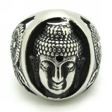 Holy Thailand Budda Flower 316L Stainless Steel Silver Mens Boys Ring Cool Gift