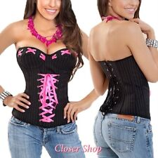 Sexy Lace Up Pinstripe Corset Bustier Top- 34 36 38 40 42 44
