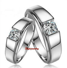 18k White Gold Plated Made with Swarovski Crystal Silver Wedding Ring Band R137