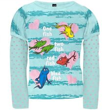 """NWT Dr. Seuss Girl's """"One Fish Two Fish"""" Sparkly Long Sleeve Shirt- Sizes 2T-4T"""