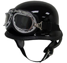DOT German Motorcycle Half Helmet Chopper Cruiser Biker Gloss Black w/ Goggles