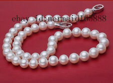 "9-10mm White Akoya Cultured Pearl Necklace 17"",18"",19"",20"",21"",22"" free shipping"