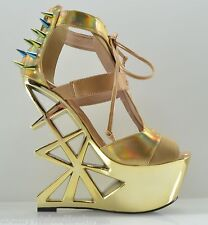 JCD Privileged Novice Gold Tan Hologram Studded Spiked Cut Out Heel Less Wedge