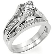 1.8 CT .925 STERLING SILVER WEDDING ENGAGEMENT RING SET SIZE 5 6 7 8 9 10