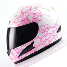 NEW Motorcycle Street Bike Full Face Helmet Pink Flower Size S M L XL Available