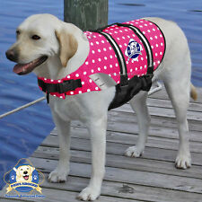PAWS ABOARD Dog Life Jacket Swim Vest Pink Polka Dots LARGE 50-90 lbs NEW!