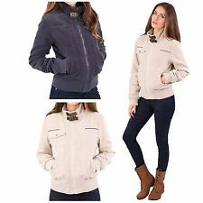 LADIES LONG SLEEVE FAUX LEATHER/SHEEP SKIN TRIMS CORDUROY BOMBER JACKETS/COATS