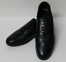 NEW GUCCI BLACK LEATHER/RUBBER LACE-UP CASUAL/OXFORDS/LOAFERS MODERN SHOES MENS!