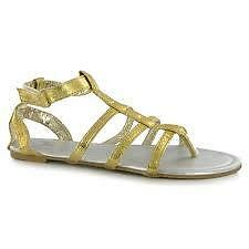 LADIES MISS FIORI GLADIATOR SANDALS GOLD SIZES 5 6 7 NEW BNWT RRP 12.99