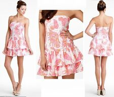 $198 Lilly Pulitzer Elinor Seersucker Resort White Conched Out Strapless Dress