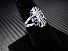 925 Sterling Silver Initials Personalized Monogram Ring Custom Made Jewelry