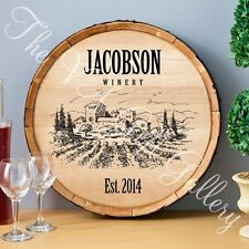 Personalized Whiskey Barrel Wall Sign with aged metal hoop 7 Different Designs