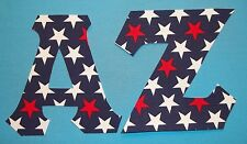 Red White stars navy fabric Iron On Greek Letters Sorority Alpha Omega all UPick