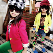 Kids Girls Slim Fit Jacket Coat Outwear Suits Blazers Candy Color Costume 2-7Y