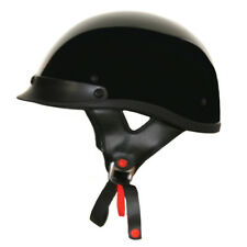 Lunatic Shorty Helmet Gloss Black - DOT Approved - Adult Motorcycle Half Helmet