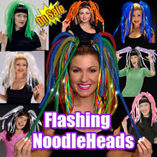 LIGHT UP LED HEADBAND FLASHING RAVE PARTY BLINKING DREADS HALLOWEEN FUN!