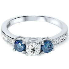 1.00CT Blue Diamond 3 Stone Engagement Ring 14K White Gold