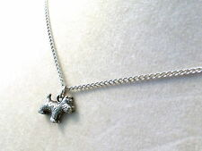 Pewter Scottish Terrier Charm on a Silver Tone Link Chain Necklace -5501