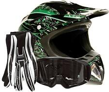 Adult Motocross Helmet with gloves and goggles Green dirt bike MX Off Road ATV
