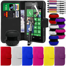 PU Leather Wallet Case Cover, LCD Film, Pen & Mini Speaker for Nokia Lumia 520