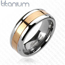 Solid titanium men's ring with Rose Gold IP Center wedding band