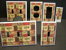 TUSCAN COLORS PALM TREE PATCHWORK IMAGE 2  LIGHT SWITCH COVER PLATE OR OUTLET