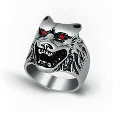 Fashion Stainless Steel Mens Wolf Head Biker Ring Jewelry Size 8 9 10 11 12 13