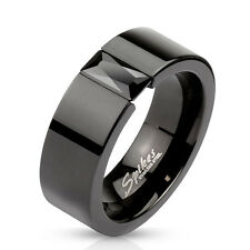 Stainless Steel Black Simple Men's Ring with Rectagular Black Gem Wedding Band