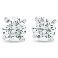 1.25CT Round Brilliant Cut Natural Diamond Stud Earrings In 14K Gold