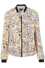 New Womens Stand Collar Animal Deer Floral Print Bomber Jacket Coat Size S M L