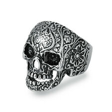 316L Stainless Steel Mens Silver Punk Skull Biker Ring Jewelry D114 US Size 8-12
