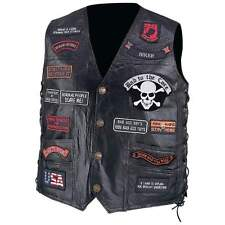 Pebble Grain Genuine Buffalo Leather Biker Motorcycle Vest with 23 patches