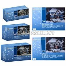 480 720 960 Long Set of Snowing Outdoor LED Icicle Christmas Lights Blue & White