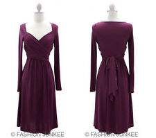 PURPLE FF1 LONG SLEEVE CROSSOVER Faux Wrap Dress Tie Knee Length Sexy S M L SIZE