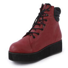 YRU Raze Womens Laced Synthetic Leather Platform Boots Shoes Burgundy