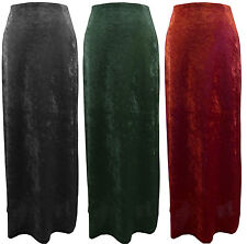 SIZES 10-14 BLACK GREEN RED VELVET GOTHIC BOHO PAGAN LONG WITCH STRETCHY SKIRT