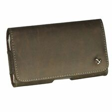 New Luxmo Brown Horizontal Leather Pouch Holster Belt Clip Case for Cell Phones