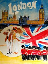 LONDON WIND PALACE BIG BEN BRITISH QUEEN'S GUARD FLAG TRAVELVINTAGE POSTER REPRO